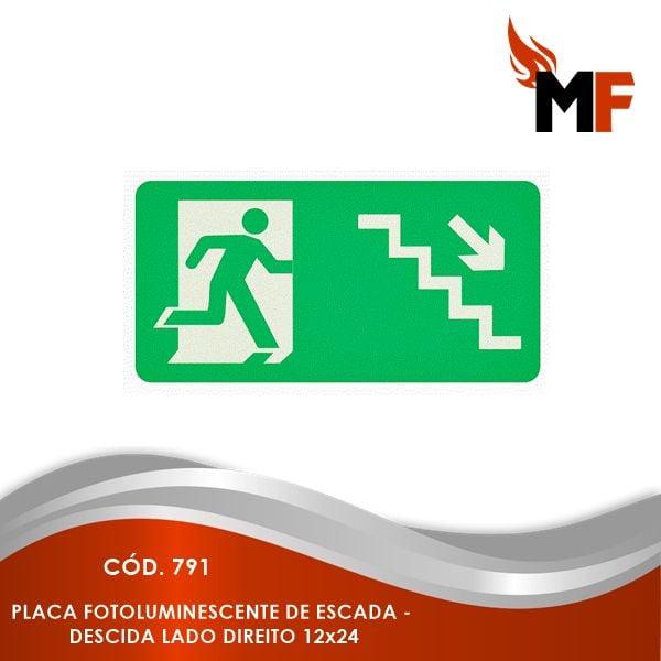 *Placa Fotoluminescente Escada - Descida Lado Direito 12x24
