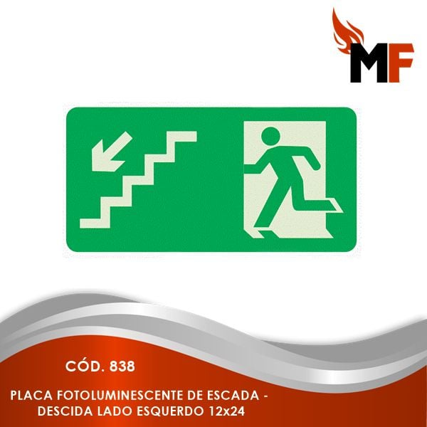 *Placa Fotoluminescente Escada - Descida Lado Esquerdo 12x24