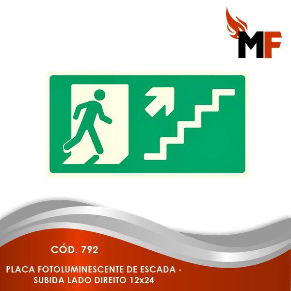 *Placa Fotoluminescente Escada - Subida Lado Direito 12x24