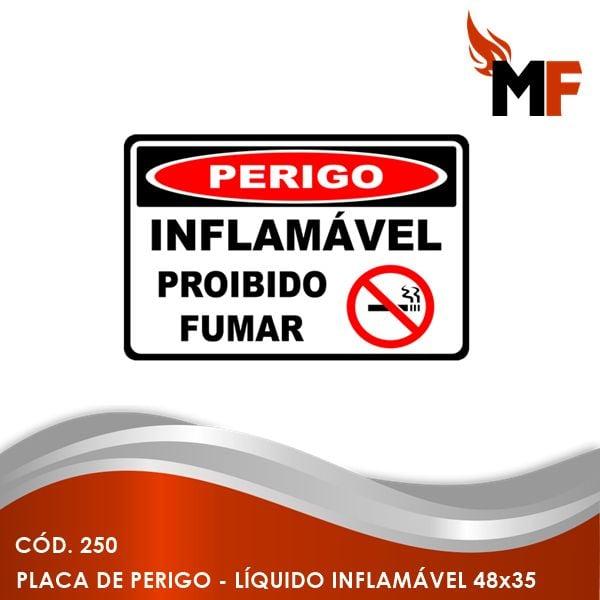 Placa de Perigo Líquido Inflamável 48x35